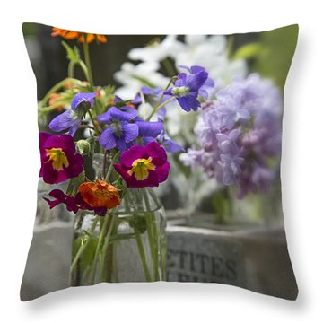 Gathering Wildflowers Throw Pillow by Edward Fielding