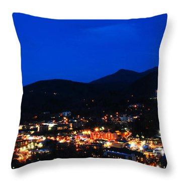 Gatlinburg Skyline At Night Throw Pillow by Nancy Mueller