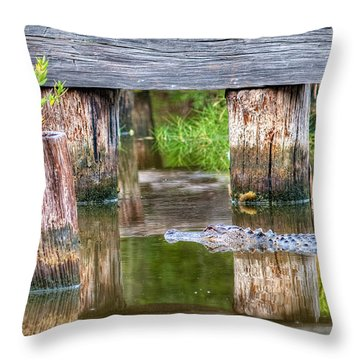 Gator At The Old Trestle Throw Pillow