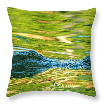 Gator In Pond Throw Pillow