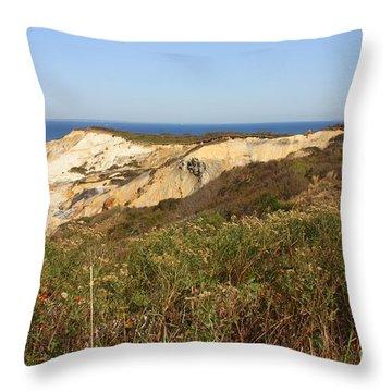 Gay Head Lighthouse With Aquinnah Beach Cliffs Throw Pillow by Carol Groenen