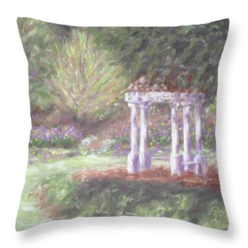 Gazebo At Hopelands In Spring Throw Pillow