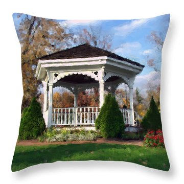 Throw Pillow featuring the photograph Gazebo At Olmsted Falls - 1 by Mark Madere