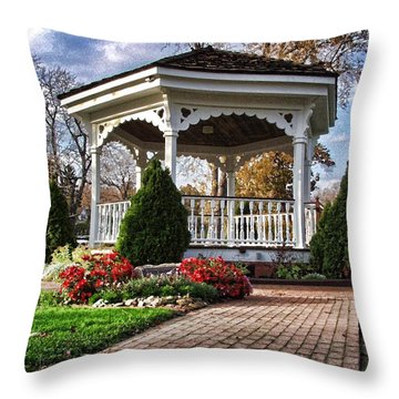 Throw Pillow featuring the photograph Gazebo At Olmsted Falls - 3 by Mark Madere