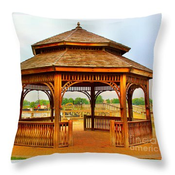 Gazebo By The Water Throw Pillow by Judy Palkimas