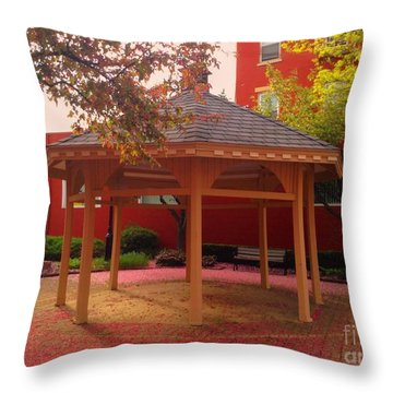 Throw Pillow featuring the photograph Gazebo In Pink by Becky Lupe