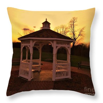 Throw Pillow featuring the photograph Gazebo In Sunset by Becky Lupe