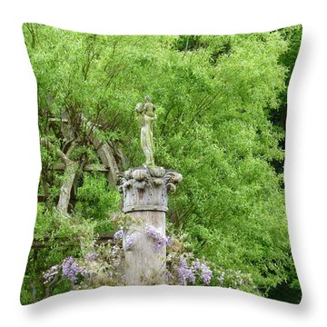 Gazebo In The Maze At Chenonceau Throw Pillow by Susan Alvaro