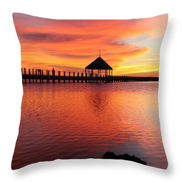Gazebo's Sunset Reflection Throw Pillow by Robert Banach