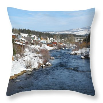 Gazing Over The Truckee River Throw Pillow