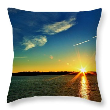 Gc Lake Sunrise Throw Pillow