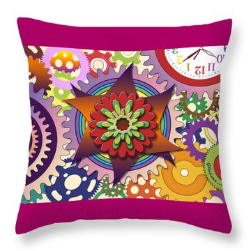 Gears Throw Pillow by Gerry Robins
