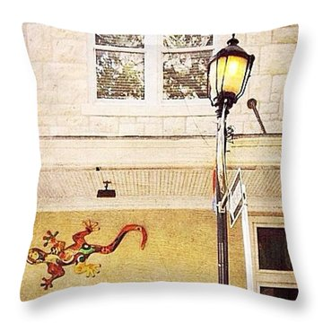 Gecko And Lamp Throw Pillow by Beth Williams