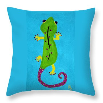Throw Pillow featuring the painting Gecko Gecko by Deborah Boyd