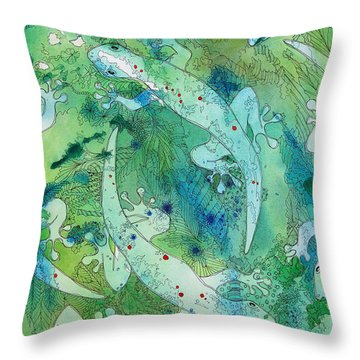 Geckos At Play Throw Pillow