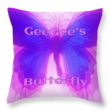 Throw Pillow featuring the digital art Geegee Butterfly by Gayle Price Thomas