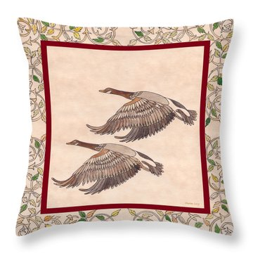 Throw Pillow featuring the drawing Geese by Dianne Levy