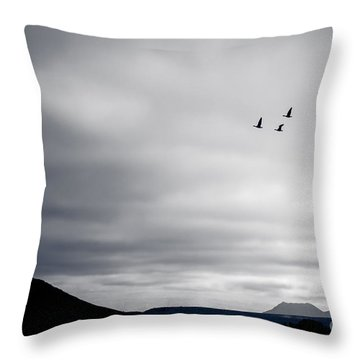 Geese Flying South For Winter Throw Pillow by Peta Thames