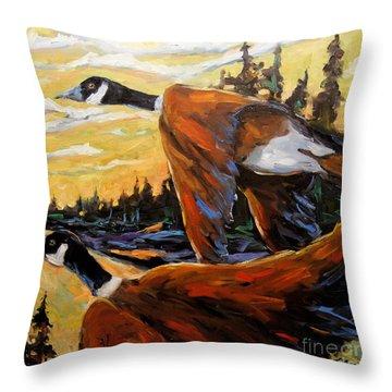 Geese In Flight Throw Pillow