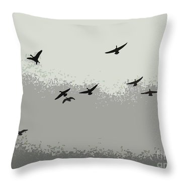 Throw Pillow featuring the photograph Geese In Sillouehette by Nina Silver