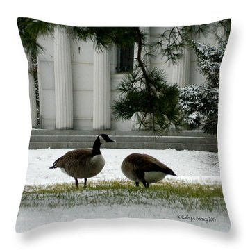 Geese In Snow Throw Pillow by Kathy Barney