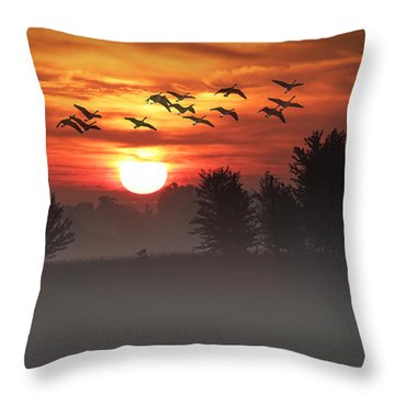 Geese On A Foggy Morning Sunrise Throw Pillow