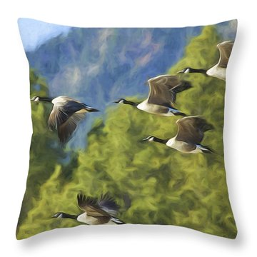 Geese On A Mission Throw Pillow