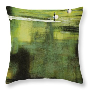 Geese On Pond Throw Pillow by Andy Mars