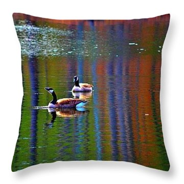Throw Pillow featuring the photograph Geese On The Lake by Tara Potts