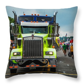 Geico Truck Straight On Throw Pillow by Grace Grogan
