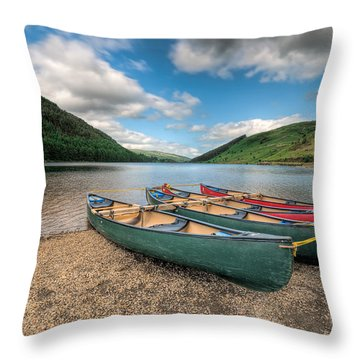 Geirionydd Lake Throw Pillow by Adrian Evans