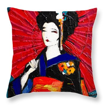 Geisha Throw Pillow by Mona Edulesco