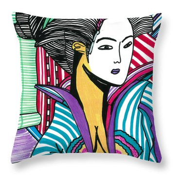 Geisha Green And Blue Throw Pillow
