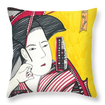 Geisha In Red And Black Throw Pillow