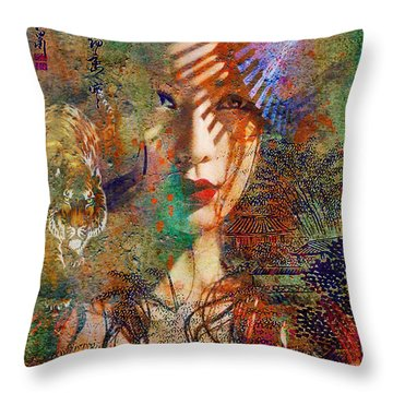 Geisha Print Throw Pillow by Greg Sharpe