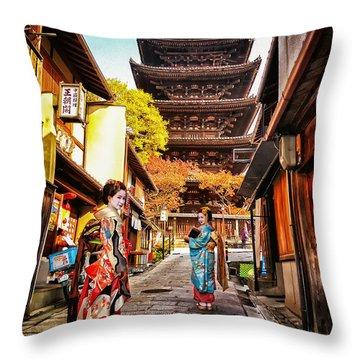 Geisha Temple Throw Pillow