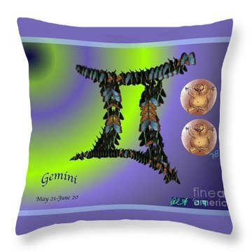 Throw Pillow featuring the digital art Gemini by The Art of Alice Terrill