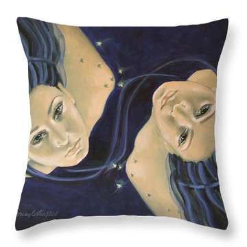 Gemini From Zodiac Series Throw Pillow by Dorina  Costras
