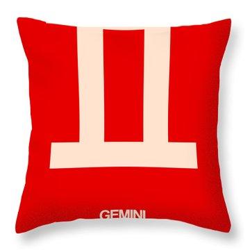 Gemini Zodiac Sign White On Red Throw Pillow