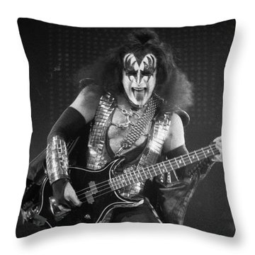 Gene Simmons Throw Pillow by Timothy Bischoff