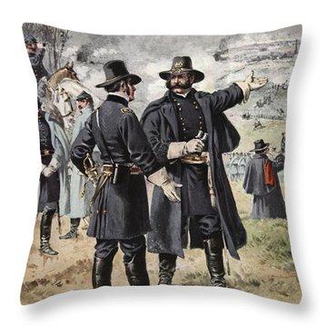 General Burnside At The Battle Throw Pillow