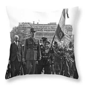General Charles De Gaulle Throw Pillow by Underwood Archives