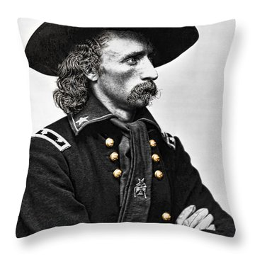 General George Armstrong Custer  Throw Pillow by Daniel Hagerman