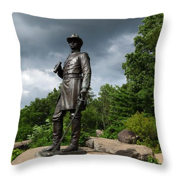 General K Warren Monument Gettysburg Throw Pillow by James Brunker