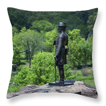 General Kemble Warren At Little Round Top Throw Pillow by John Greim