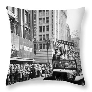 General Patton Ticker Tape Parade Throw Pillow by War Is Hell Store