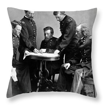 General Philip Sheridan And His Staff  Throw Pillow