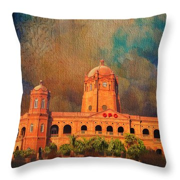 General Post Office Lahore Throw Pillow by Catf