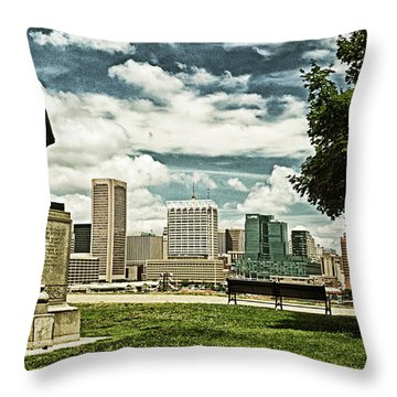 General Smith Overlooks Baltimore Harbor Throw Pillow