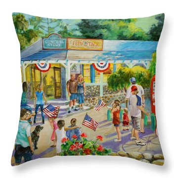 General Store After July 4th Parade Throw Pillow by Jan Mecklenburg